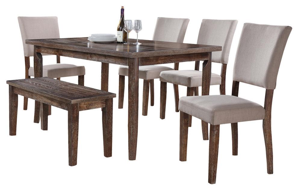 Transitional Antique-Style Natural Oak Dining Room Set, 6-Piece Set