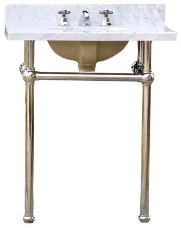 Bath Console Sink Deco Vanity Chrome Legs, White Carrara Marble