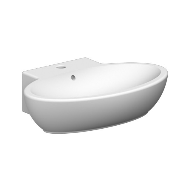 Oval Shaped White Ceramic Wall Mounted Or Vessel Bathroom Sink, One Hole.
