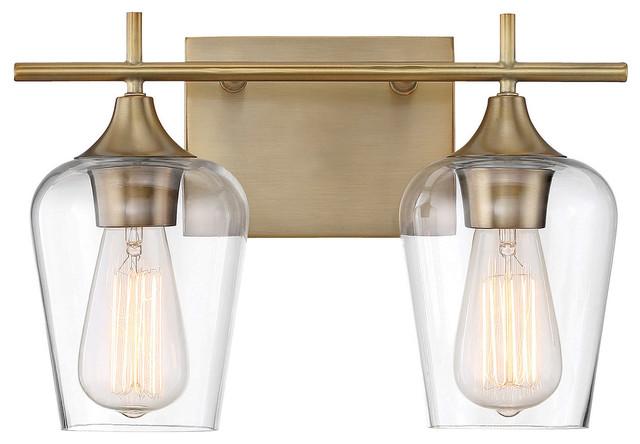 Octave 2-Light Vanity Fixture, Warm Brass, 2-Light