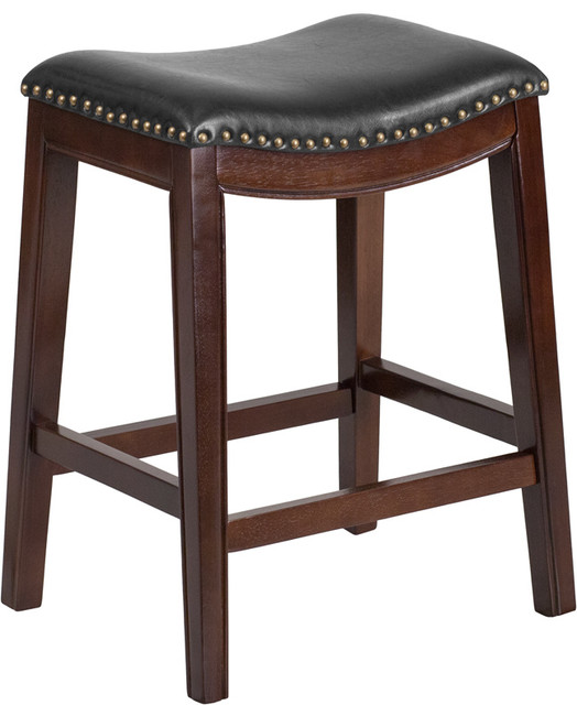 26  Backless Wood Counter Height Stool With Leather Seat Cappuccino transitional-bar-  sc 1 st  Houzz & 26
