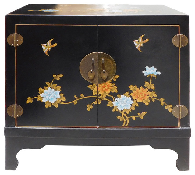 Chinese Oriental Black Vinyl Flower Side Table Cabinet Hcs1540 ...