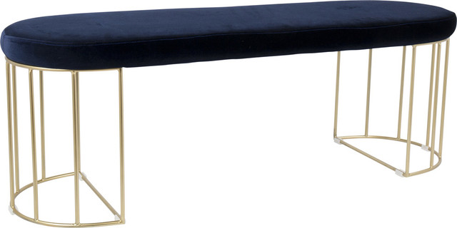 LumiSource Canary Dining/Entryway Bench, Gold and Blue Velvet