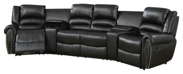 Leather Motional Home Theater 5 Piece Sectional Black