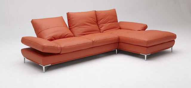 Peachy Stylish Orange Leather Sectional Sofa Set Modern Los Ncnpc Chair Design For Home Ncnpcorg