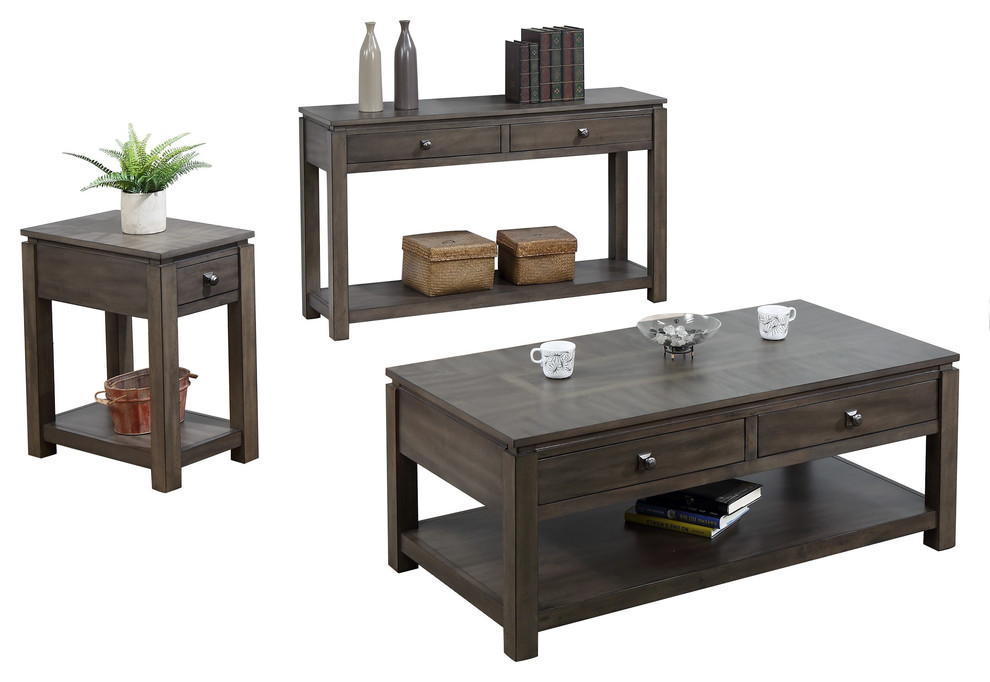 3 Pc Living Room Table Set In Gray