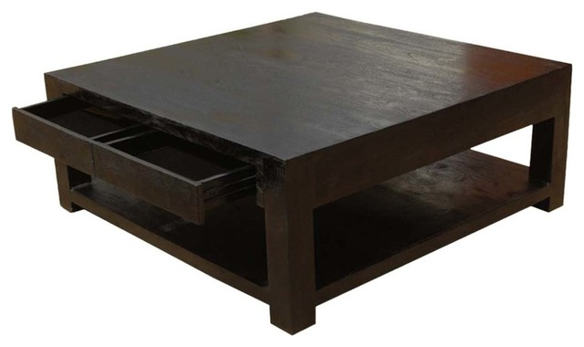 Glencoe Contemporary Style Solid Wood Large Square Coffee Table