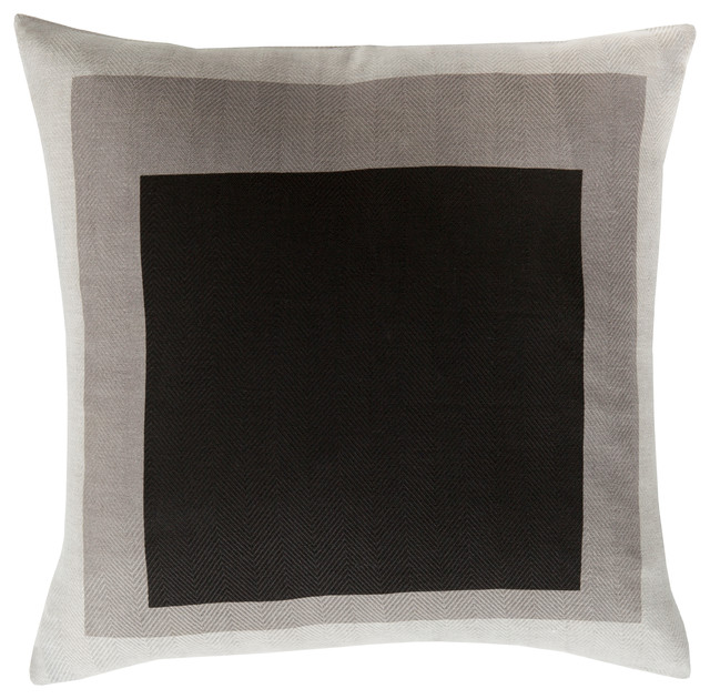 Surya Teori 18x18x0.25 Black Pillow Cover.