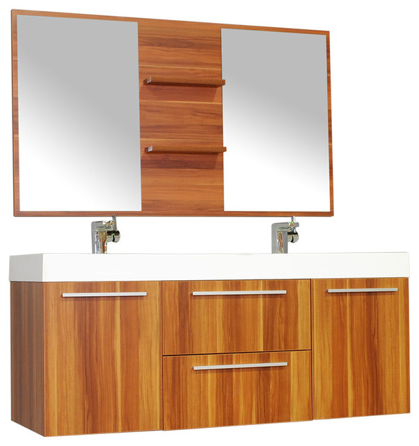 Ripley 54 Quot Double Wall Mount Modern Bathroom Vanity Set
