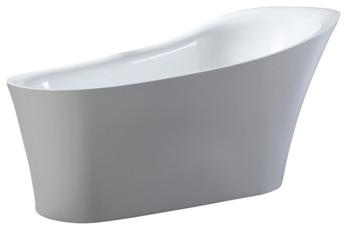 "Alexandria Freestanding Acrylic Bathtub 67"" White With Rectangle Overflow"