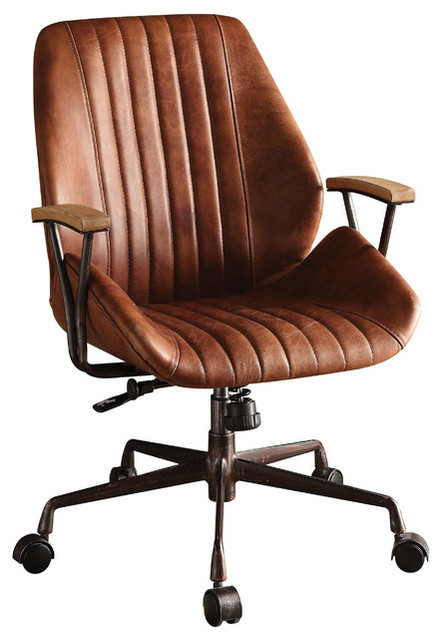 1perfectchoice Hamilton Top Grain Leather Office Chair, Cocoa.