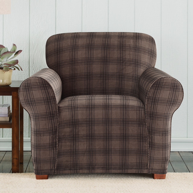 Sure Fit Stretch Belmont Chocolate Plaid Chair Slipcover  : contemporary living room chairs from www.houzz.com size 640 x 640 jpeg 115kB