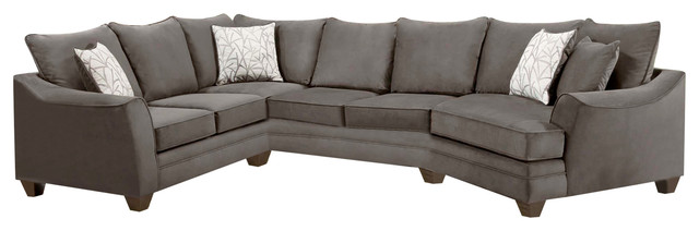 Cupertino 3-Piece Sectional, Flannel Seal
