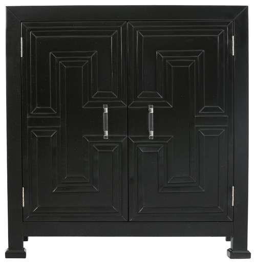 Black Geometric Overlay Door Chest