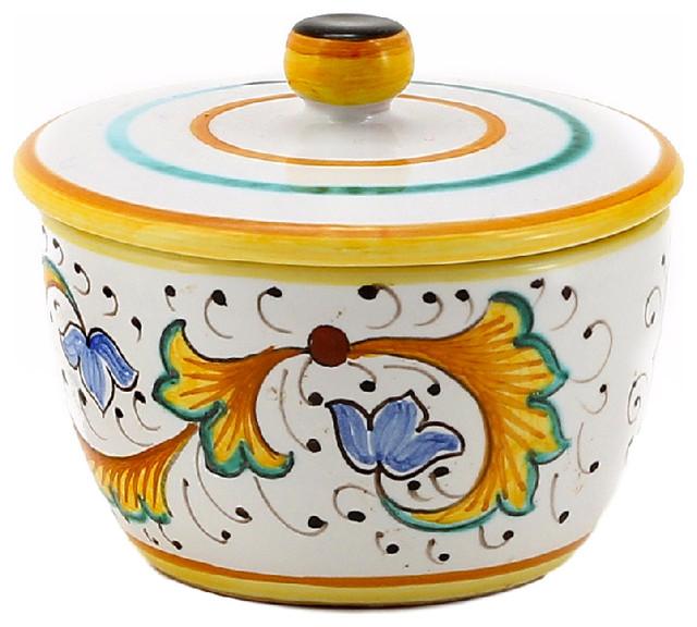 Perugino Round Jar With Lid Cotton Balls Sugar Sauces Etc