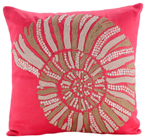 Coral Sea Shells, Pink 35x35 Cotton Linen Cushion Cover