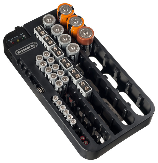 Stalwart Battery Organizer Caddy With Tester, Holds Over 70 Batteries  Contemporary Storage Bins