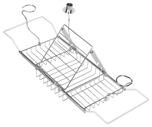 Expandable Bathtub Caddy Tray with Reading Rack and Wine Glass ...
