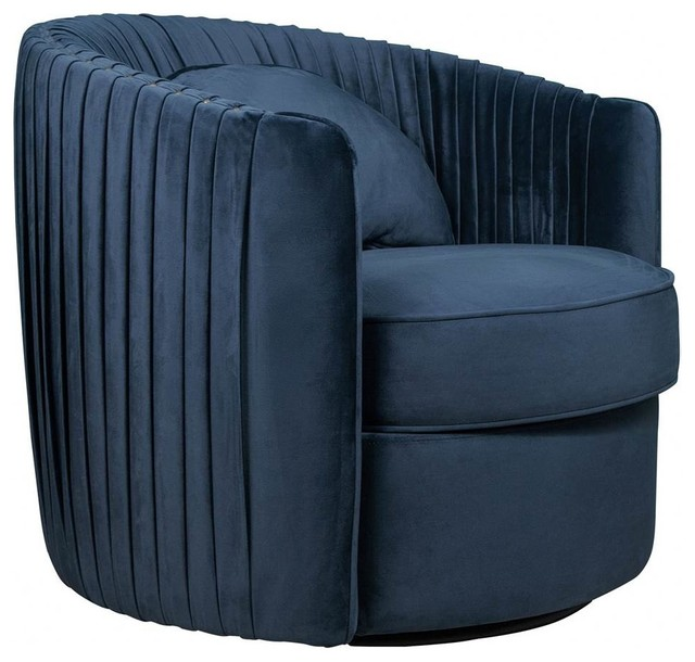 Blue Modern Accent Chairs.Pleated Velvet Swivel Accent Chair Blue