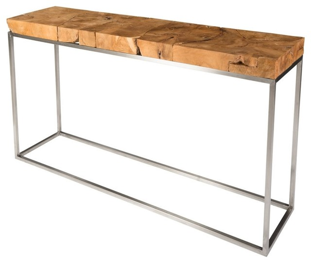 60 Long Teak Console Stainless Steel Base Wood Brown
