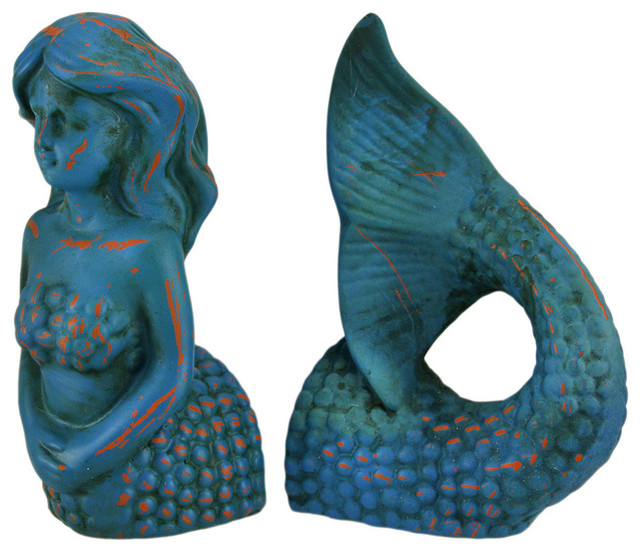 Modest Mermaid Top and Tail Blue Distressed Finish Bookend Set