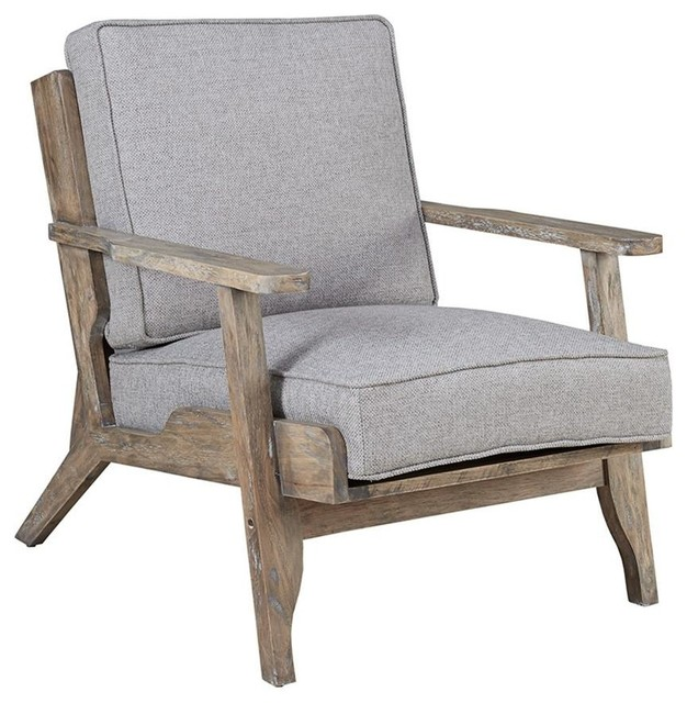 Peachy Modern Driftwood Rustic Gray Fabric Upholstered And Wood Accent Lounge Chair Gmtry Best Dining Table And Chair Ideas Images Gmtryco