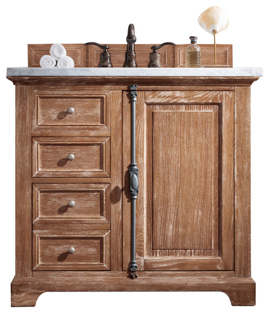 "Providence 36"" Driftwood Single Vanity With 3 Cm Summer Sand Quartz Top."