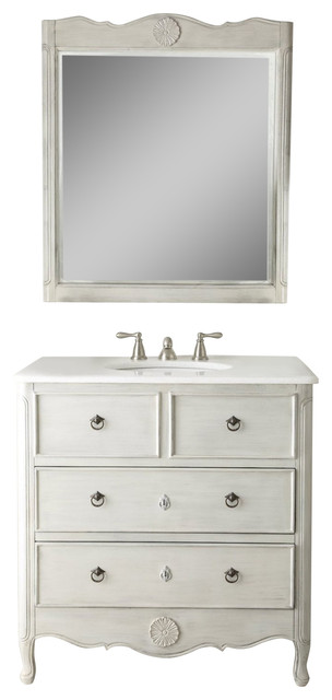 34 Cottage Look Daleville Bathroom Sink Vanity Distressed Grey