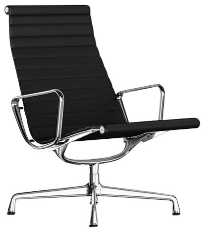 Brilliant Eames Aluminum Lounge Chair By Herman Miller Black Mcl Leather Base Polished Uwap Interior Chair Design Uwaporg