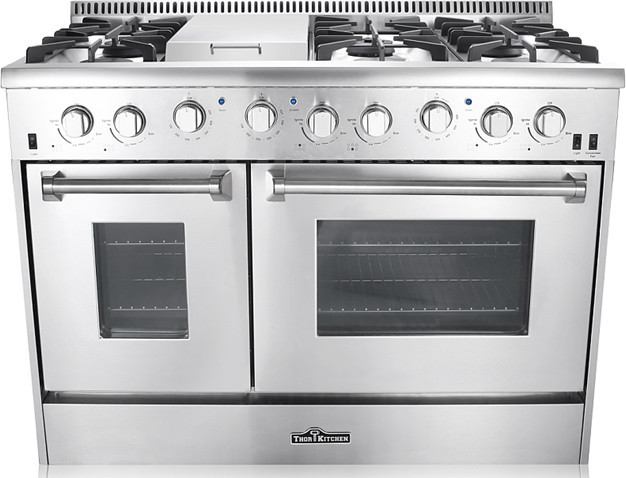 "thor kitchen 6-burner gas range with double oven, 48"" - modern"