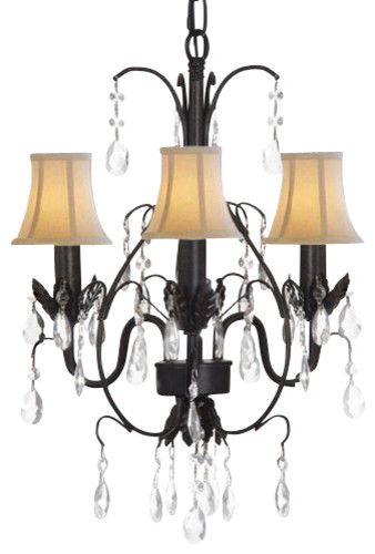 Country French Wrought Iron Chandelier With Shades traditional-chandeliers