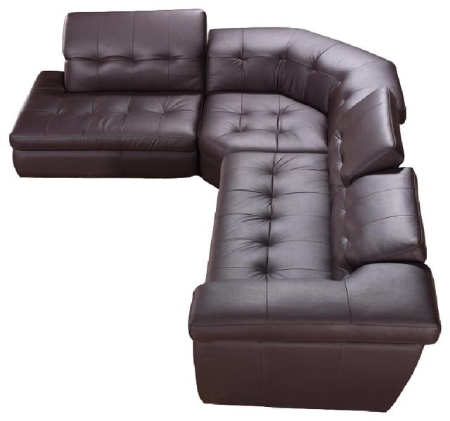 J&M 397 Italian Leather Sectional Sofa Beige