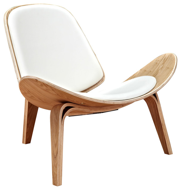 Modern Leather Lounge Chair Shell Mid Century Ash Wood