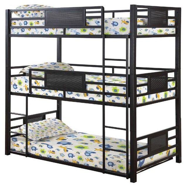 Triad Twin Size Metal Triple Bunk Bed Industrial Bunk Beds By
