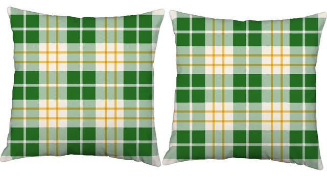Green Plaid Throw Pillows Outdoor Cushions And Pillows