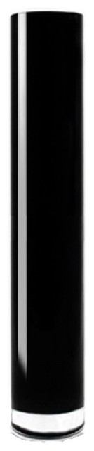 """Hand-Blown Black Glass Cylinder Vase 4"""", 1 PC. Choose Height Options, 24"""