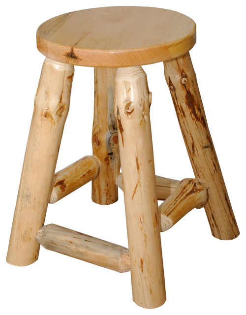 Rustic Pine Log Counter Height Kitchen Stool 24