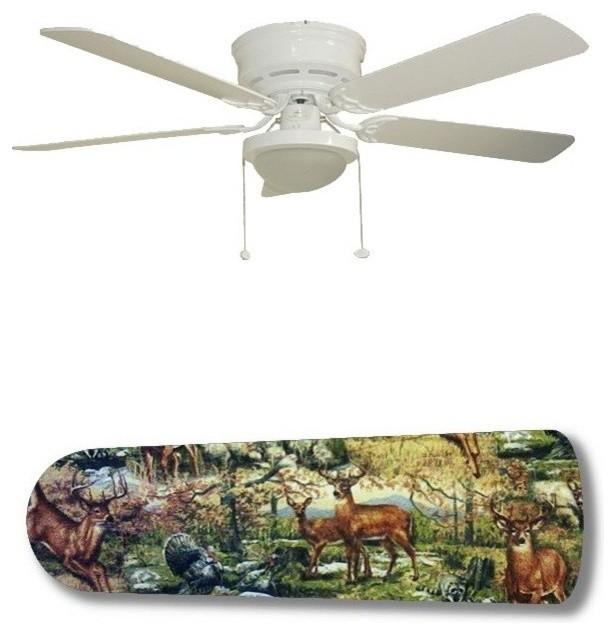 Outdoor Wildlife Deer Racoon Turkey 52 Ceiling Fan With Lamp