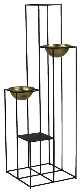 Pomax Freli Iron Plant Stand With Gold Holders