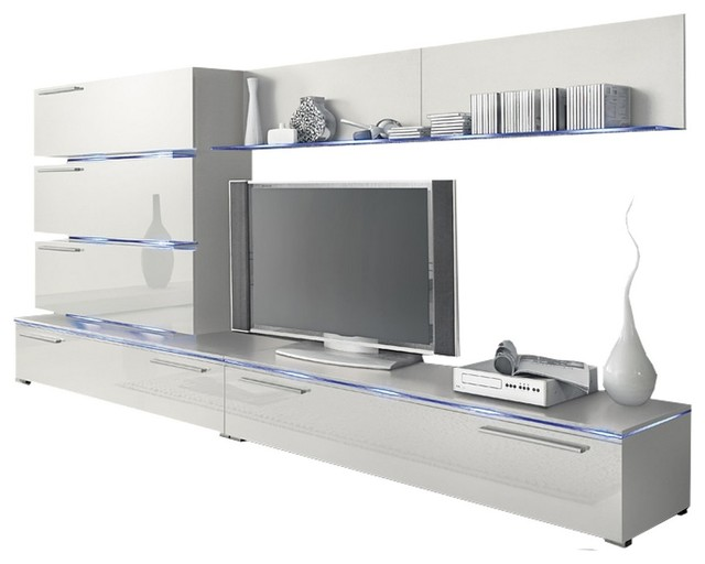Dortmund Entertainment Center Wall Unit With Led Lights 75 Tv Stand