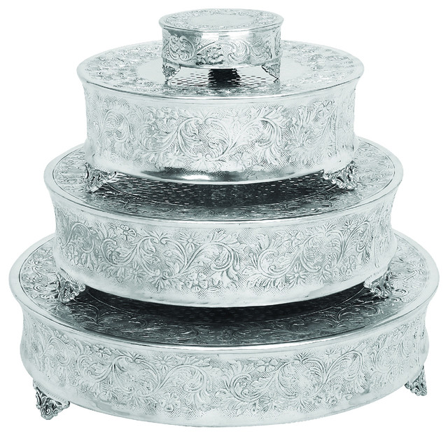 Urban Designs Event Essentials Round Wedding Cake Stands 4 Piece Set Traditional Dessert