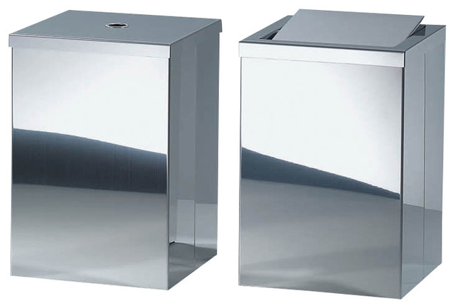 Harmony 210 waste basket with revolving cover in polished stainless steel contemporary - Modern wastebasket ...