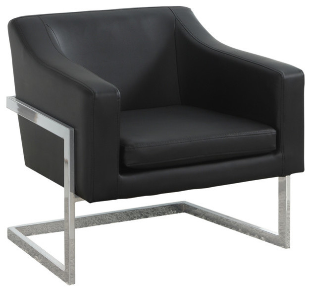 Modern Living Room Chrome Faux Leather Accent Chair Contemporary Armchairs And Accent Chairs By Furniture Import Export Inc