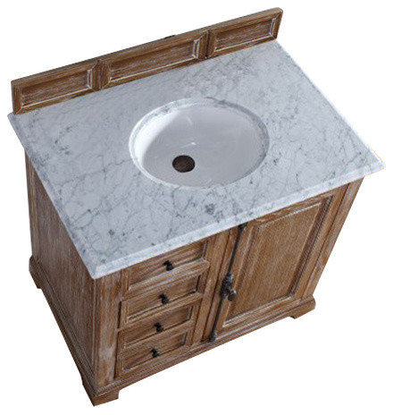 Providence 36 Driftwood Single Vanity With 2cm Carrara White Marble Top.