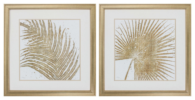 Gold Leaves, Set Of 2.