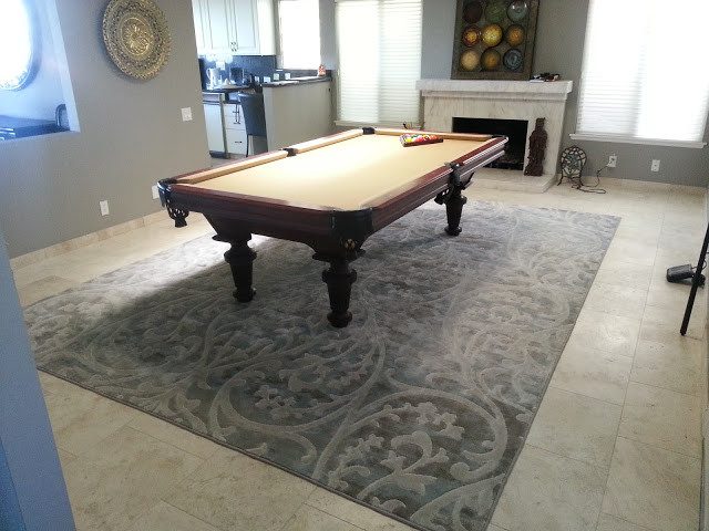 Grey Contemporary Modern Rug for under Pool Table - Modern - Living ...