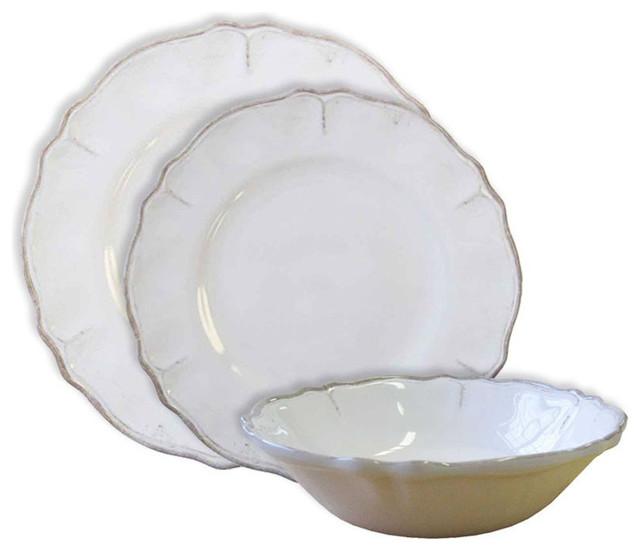 Rustica Antique Melamine 3 Piece Dinnerware Set White
