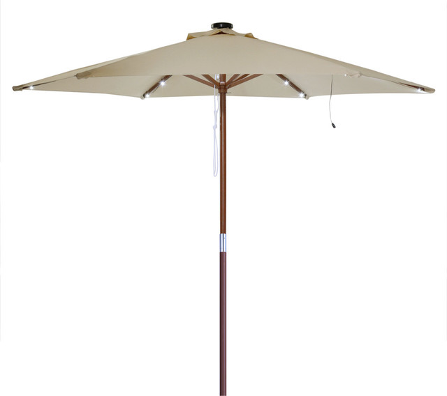 Yeshom 8 Wooden Led Umbrella With Wood Pole View In