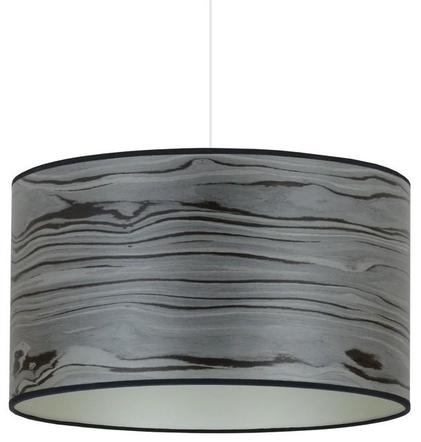 Designer Grey and Champagne Wood Veneer Pendant Light, 50 Cm