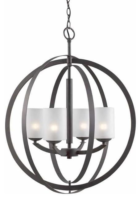 Woodbridge Lighting 14320-C10455 Mirage 4 Light Pillar Candle Globe Chandelier